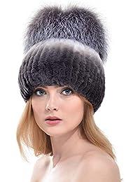 VEMOLLA Cappello Spesso Invernale per Donne in Vera Pelliccia di Coniglio  Rex Berretto con PON PON 365dd0dc8e2f