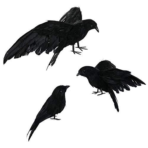Ciojio 3 Pack Schwarz Gefiedert Krähen Raben Vögel Halloween Stütze Dekor zum Draußen Drinnen Dekoration