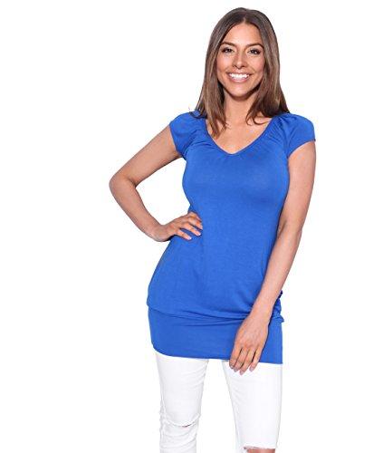 KRISP Damen Top Geraffter V-Ausschnitt_(7604-RBL-16) (Damen Stretch-jersey-t-shirt)