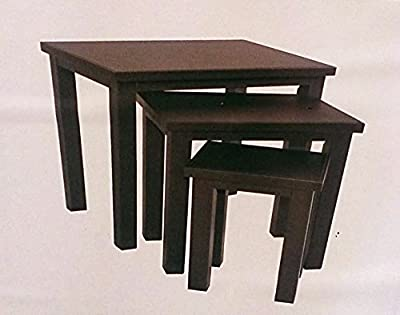 Faux Leather Set Of 3 Nest Tables Dark Brown Coffee & End Tables