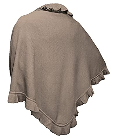 Cape Trachtentuch Poncho Umhang Stola Schultertuch Tuch Strickponcho Tracht, Farbe:beige (Brown Kleid Jeans)
