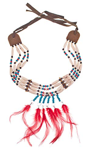 Themen Kostüm Wild West - Indianer Halskette Tiki - mit Holzperlen und Federn - Beige Rot - Tolles Accessoire zu Wild West Kostümen an Karneval, Mottoparty oder Geburtstagsfeier