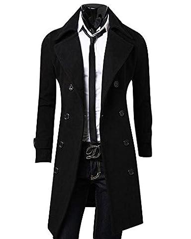 Homme Manteau Fit Slim Pardessus Double Breasted Veste Longue Parka Trench-Coat Noir XL
