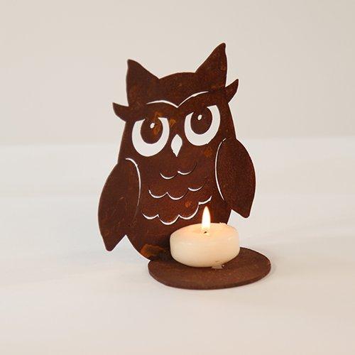 Chouette/Hibou sur plaque pour bougies chauffe-plats 15 cm en acier rouille automne Décoration en Rouille