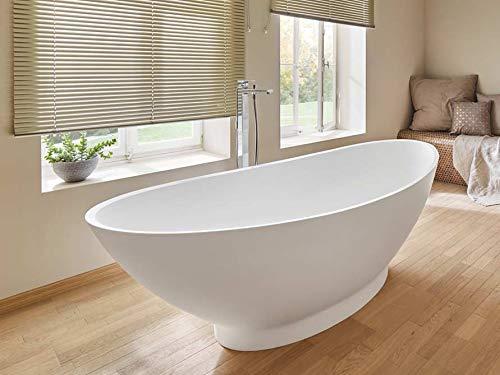 Freistehende Badewanne Mineralguss - oval weiß - inkl. Ablaufventil & Siphon - 188x84 - M