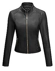Bellivera Damen PU Lederjacke (3 Farben), Bikerjacke mit Reißverschluss, Kurze Jacke für Herbst, Frühling, M