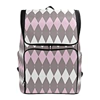 DINANY Diamond Pattern With Blooming Floral Arrangement Petals And Leaves Computer Backpack Student Knapsack Business Travel Bag Walking Portable Wild Outsourcing Camping Bags Rucksack Outdoor College