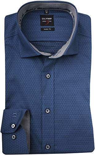 Olymp Level Five Body fit Hemd Langarm New Kent Kragen Muster blau Größe 40