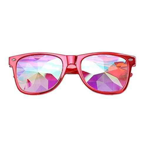 Dragon868 Kaleidoskop Gläser Rave Festival Party EDM Sonnenbrille Beugungslinse (Rot)