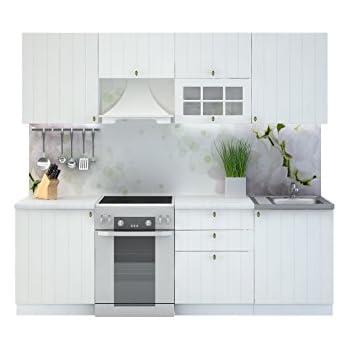 Küche provence 240 cm küchenzeile einbauküche küchenblock erweiterbar module frei kombinierbar weißes holz