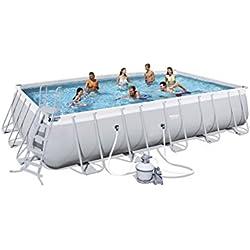 Bestway Frame Pool Power Steel Set, Gris Clair, Pompe à Filtre à Sable Rectangulaire + Accessoires 56471, Gris, 671 x 366 x 132 cm