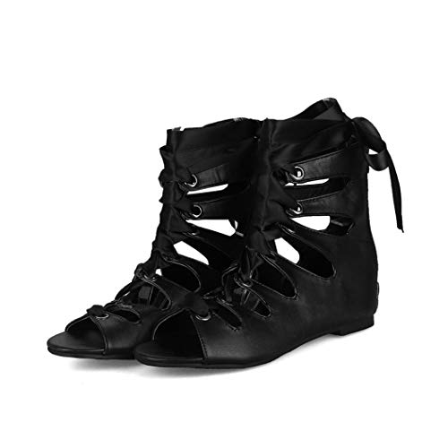 Frauen Gladiator Riemchen Schnüren Flache Sandalen Offene Spitze Aushöhlen Cross Strap Caged Back Zipper Sommer Party Schuhe (Caged Keil Sandalen)