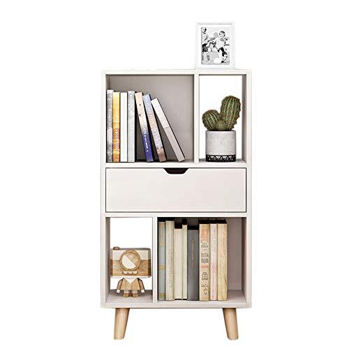 JCNFA Bücherregal Stauraum Für Wohnzimmer Büro Regal Bodenständer Mit Schublade Offene Lagerung, 3 Farben (Farbe : Weiß, größe : 19.68 * 9.84 * 36.22in) -
