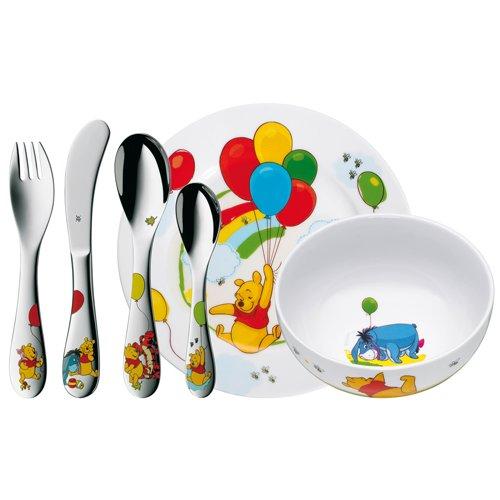 WMF Kindergeschirr Disney Winnie The Pooh 6-teilig, ab 3 Jahren Edelstahl Cromargan poliert, spülmaschinengeeignet farb- und lebensmittelecht