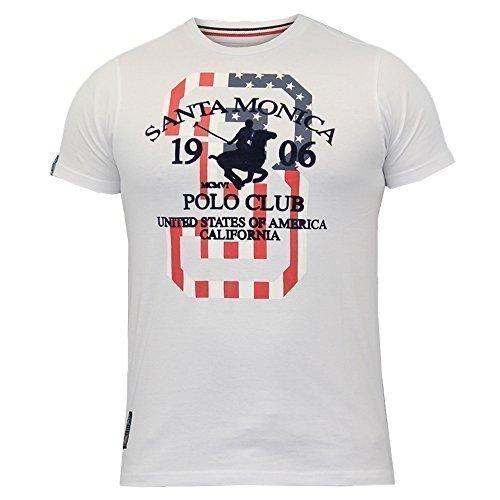 T-Shirt Da Uomo Santa Monica Polo Club Bandiera USA Girocollo Stampa Estate Cotone Nuovo RDY - cotone, BIANCO - DANBY, 100% cotone, Uomo, S