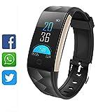Fitness trackers armband smartwatch damen/herren schrittzähler fitnessuhr Wasserdicht IP67 Vibrationsalarm whatsapp facebook twitter Anruf SMS Beachten mit iOS Android-Schwarz
