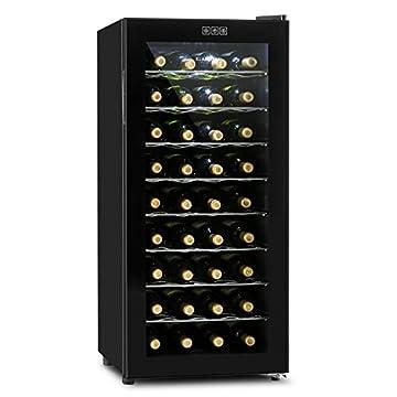 Klarstein Vivo Vino • Weinkühlschrank • Getränkekühlschrank • Gastrokühlschrank • 118 Liter • 36 Flaschen • 120W • niedriges Betriebsgeräusch • 10° - 18°C • LED-Lampe • Glastür • schwarz