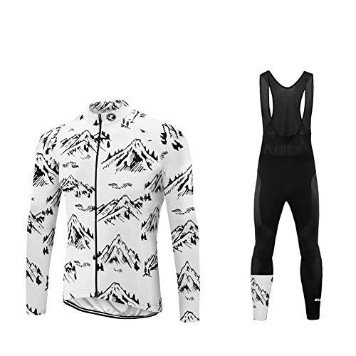 Uglyfrog Inverno Completo Ciclismo Uomo, Calda Pile Termico Abbigliamento Ciclismo Set Manica Lunga con Pantaloncini Imbottiti Traspiranti per MTB Ciclista ZRML06F