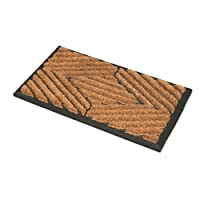 JVL Comfort Coir Rubber Scraper Entrance Door Mat, Brown, 40 x 70 cm (Design may vary)