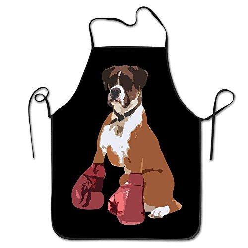 JJIAYI Boxer Dog Chef Kitchen Cooking and Baking Bib Apron -