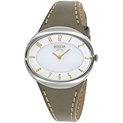 Boccia Women's Quartz Watch with White Dial Analogue Display and Grey Leather Strap B3165-17