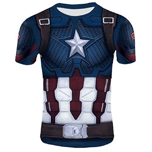 Samanthajane Clothing Born2Ride Kompressions-Baselayer, Superhelden-Kostüm/Radfahren, kurzärmelig Gr. S, Captain Endgame Short - Einfach Superhelden Kostüm Männer
