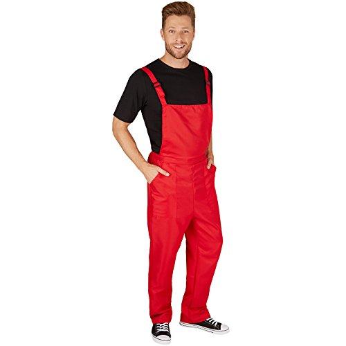 TecTake dressforfun Unisex Latzhose   Kostüm für Handwerker, Gärtner, Bauarbeiter, Neonlook oder auch Bad Tasteverkleidung (Rot   M   Nr. 301465)