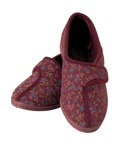 Homecraft Patterned Slippers for Ladies - Size 6, Red