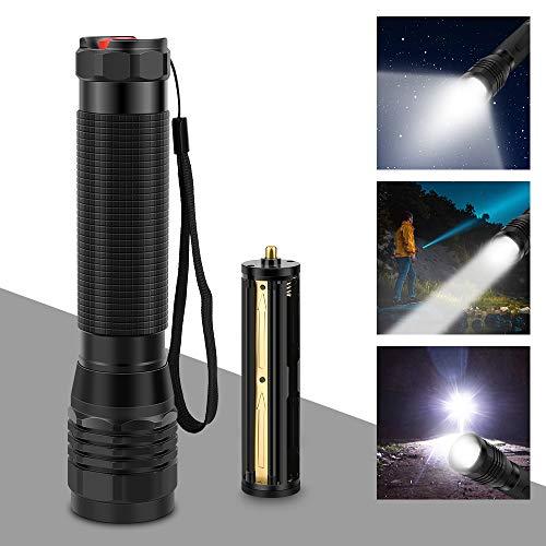 Nakeey LED Taschenlampe Extrem Hell S3000 Lumen Taschenlampe mit 3 Modi und Lange Arbeitzeit, IP67 Wasserdicht Zoombar für Outdoor, Wandern, Camping Wandern und Notfälle