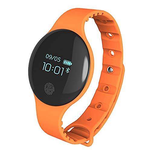 SHshou-L Intelligente Uhr, Fitness Tracker Led Männer und Frauen Student Charging Wecker Wasserdichte Kinder Vibration Elektronisches Armband,Orange