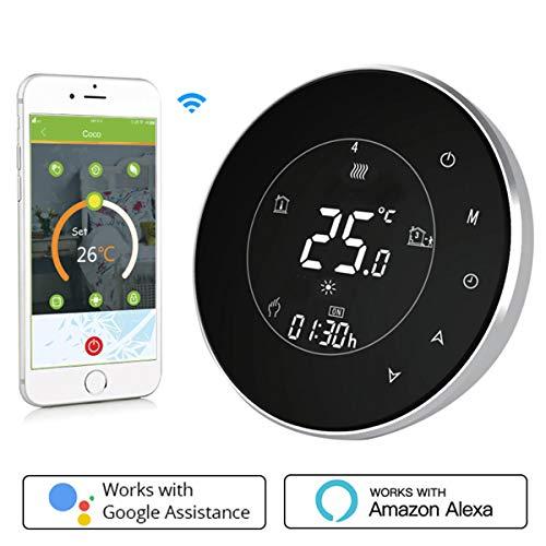 Termostato Inteligente para caldera de gas/aguaTermostato Calefaccion Wifi Pantalla LCD (pantalla TN) Botón táctil retroiluminado programable con Alexa Google Home and Phone APP-Redondo/Negro
