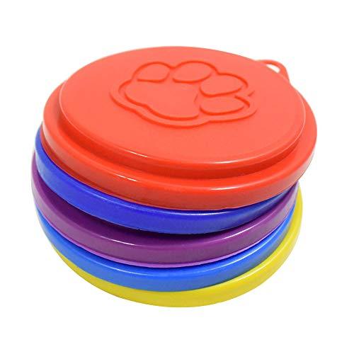 LAAT 2Pet Food Bezüge Hund Katze Kann Dose Bezug Wiederverwendbar Pet Food Speicher Kann Deckel Cover Deckel Top Cap mit Paw Print Pet Dosen-zufällige Farbe