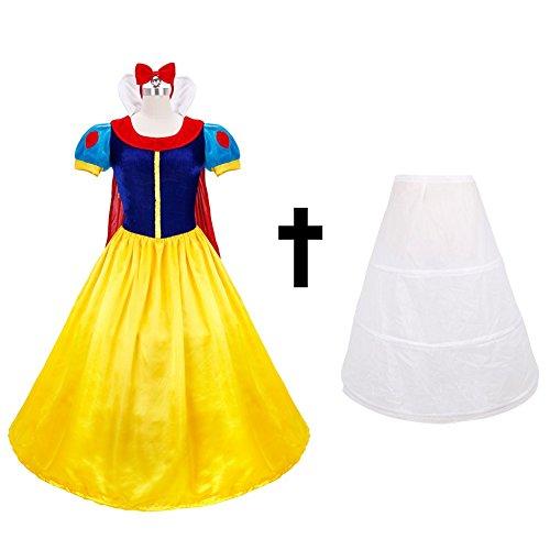 iEFiEL Costume Blanche Neige Déguisement Adulte Femme Robe Noël Cosplay S-XL Robe & Serré-tête & Jupon L