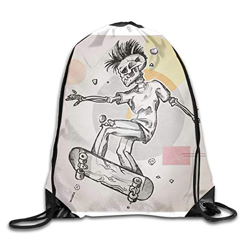 Black Deluxe-rocker (EELKKO Drawstring Backpack Gym Bags Storage Backpack, Punk Rocker Skeleton Boy On A Skateboard Skiing with Abstract Background,Deluxe Bundle Backpack Outdoor Sports Portable Daypack)