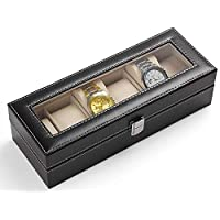 Men's jewelry box High-grade 6 Compartment leather watch box organizer case black OSBZ12