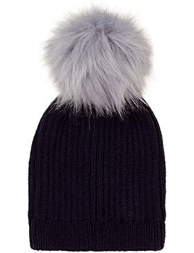 bambini Nifty staccabile pelliccia finta Pom Pom a maglia doppia bambini berretto cappello con GRATIS POM pompon