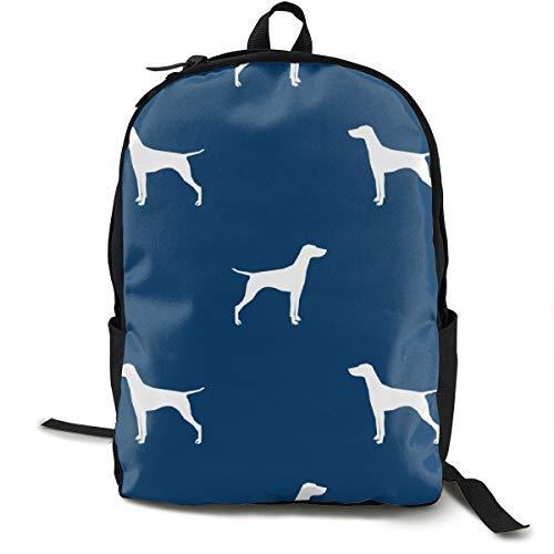 Vizsla Dog Fabric Silhouette Navy Adult Premium Travel Backpack, Water-Resistant College School Bookbag, Sport Daypack, Outdoor Rucksack, Laptop Bag for Men&Women (Adult Girl School)