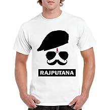 QUVYARTS Men's T-Shirt Half Sleeve Rajputana Print T Shirt for Men Royal/Rajasthani/Pagdi/Rajputi/Rajput/Rajasthan/Banna/Bana/Mooch/Moustache/Sunglasses/Cool/Swag/Sports/Tashan/Desi/Printed Tshirt