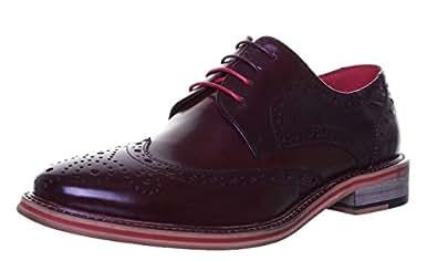 M1 Original Justin Reece Designer Hand Made Leather Brogue Wingtip Shoe (6 UK, Black )