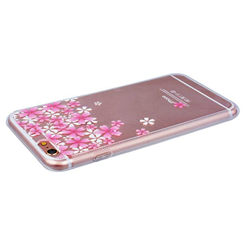 Yokata iPhone 6 / iPhone 6s Transparent Weich Silikon Gel Crystal Clear TPU Case Handyhülle Schutzhülle Schale Etui Durchsichtig Ultra Slim Backcover Silicone Bumper Protective Cover mit Cherry Tree R Kirsche blüht