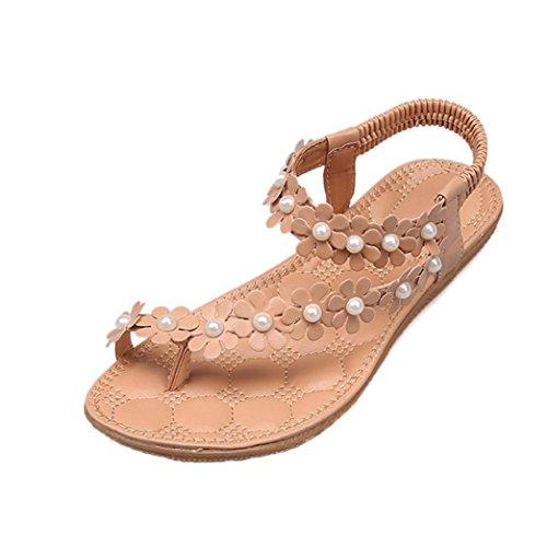 Sandalen Damen Sommer Elegant Böhmen Blumen-Perlen Flip-Flop Schuhe Flache Sandalen Schuhe Mode Strandschuhe Zehentrenner Pantoletten Riemchensandalen