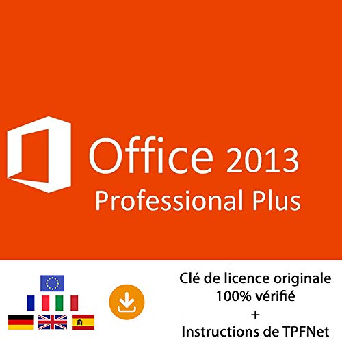 MS Office 2013 Professionnel 32 Bits & 64 Bits - Clé de Licence Originale par Postale et E-Mail + Instructions de TPFNet® - Livraison Maximum 60min