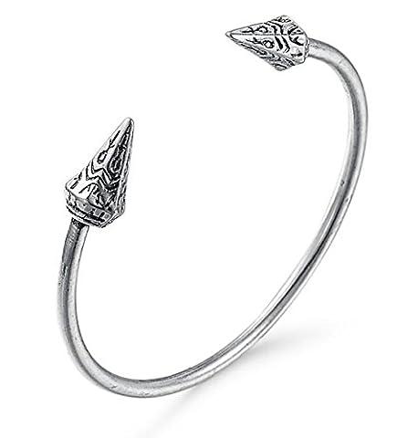 2LIVEfor Armreif Antik Ethno Armreif Silber Reifen Armband mit Zylinder Ornamente Spitzen Armreif Indianer Silber Armreif Pfeil Spitze