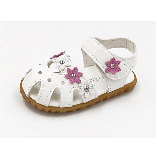 Longra Neonate morbide sandali fondo fiori Bianca