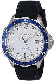 M-Watch Aqua Steel 42 Mens Rubber Watch White Display (WBX.45210.RB): Silicone Bracelet + 100m Waterproof