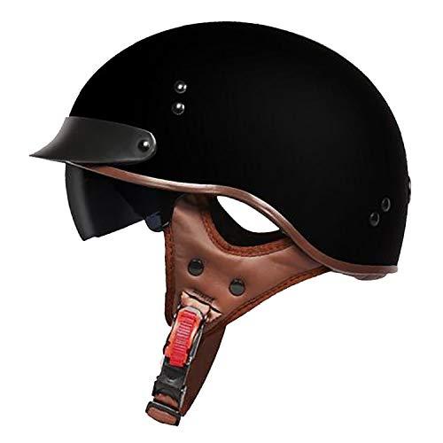 MMGIRLS Motorradhalbhelm Harley Helm Herren und Damen Vier Jahreszeiten Universal Cool Sonnenbrille Anti-Tageslicht/Nachtlicht (Mehrfarbig optional),H,M