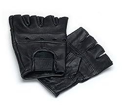 Lederhandschuhe, fingerlose Handschuhe aus Leder, Schwarz S - XXL S
