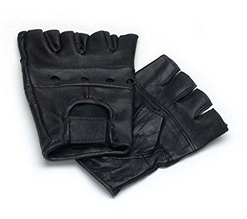 Wackelt Kostüm - Lederhandschuhe, fingerlose Handschuhe aus Leder, Schwarz S - XXL M