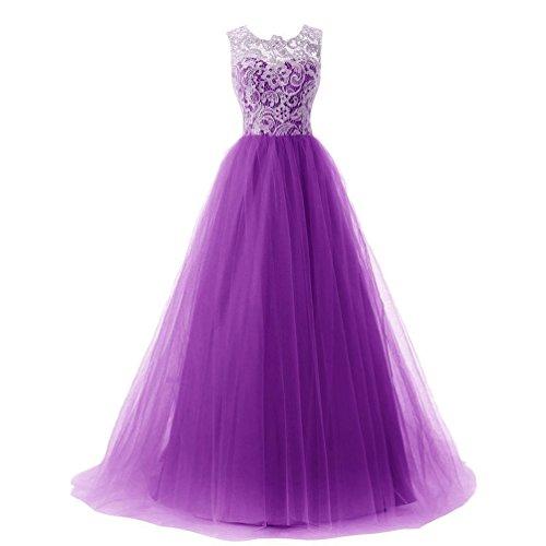 Zkoo donne formale maniche maxi abito da damigella abito di sfera dress viola s