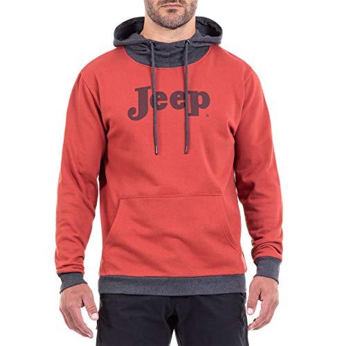 Jeep Kapuzen Vintage J8W Sudadera, Hombre, Rojo/Gris Oscuro, Extra-Lar